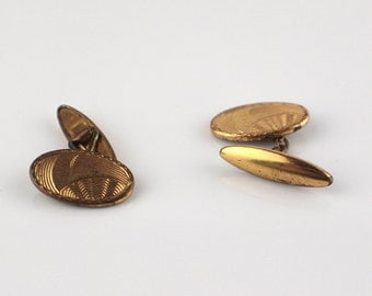 1930s Linked Oval Gold Plated Etched Surface Mens Cufflinks with Chain Link Cuff Links