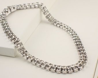 Vintage Choker Clear Rhinestone Faceted 1960s Bridal Necklace with Double Row Rhinsetone