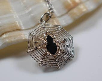 925 Silver Spider and Web Pendant on Silver Link Chain Necklace