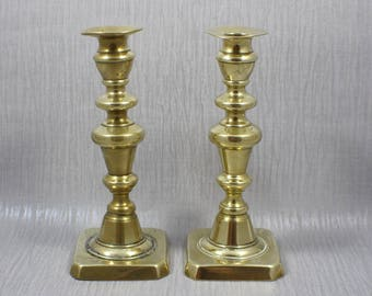 Pair of Large Brass Candle Sticks Ring Design Metal Candlesticks Square Base Centrepiece