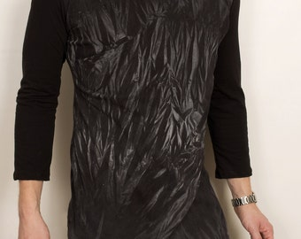 Dual layer dark futuristic mens organic cotton fashion shirt