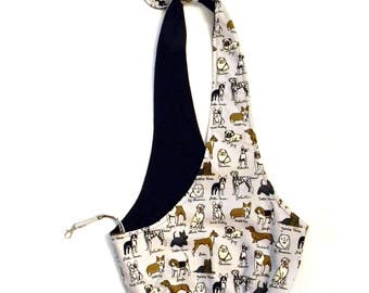 MEDIUM Black, Gray and White Dog Sling/ Pet Pouch/ Pet Carrier: Canine Club