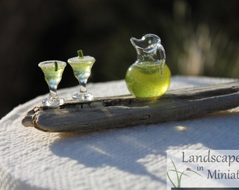 Miniature Set of TWO MARGARITAS and Matching PITCHER   - by Landscapes In Miniature