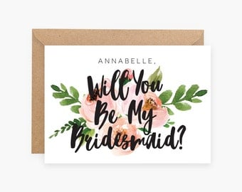 Personalised - Custom - Will you be my Bridesmaid - Maid of Honor - Wedding - Invitation - Flower Girl - Floral - Rustic Flowers House Party