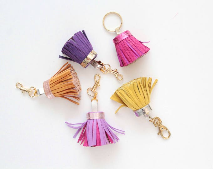 Natural leather key charm-Multicolor bright-genuine leather tassel key chains-metal key fobs -bag charms - Choose your color - Ready to Ship