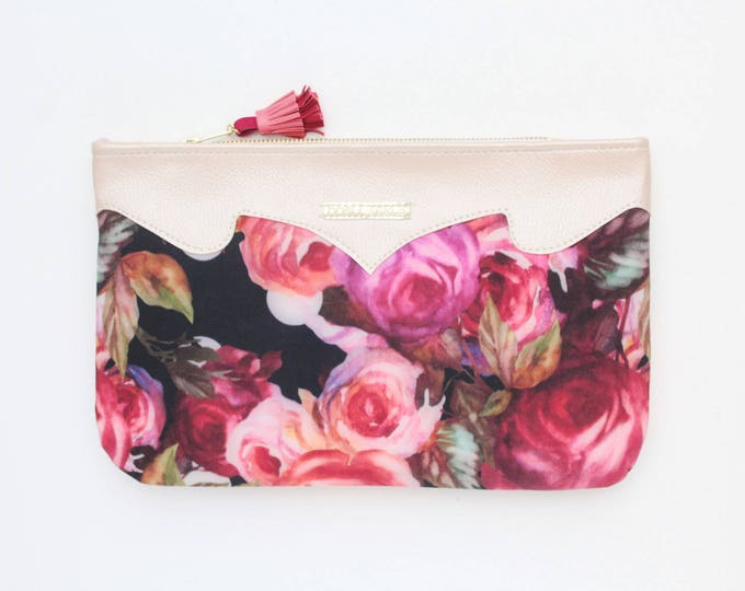 SUMMER 8 / Floral clutch bag-romantic bag-wedding purse-evening bag-small handbag-bridesmaid gift-black red pink purple violet-Ready to Ship