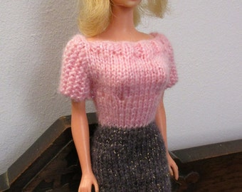 Barbie clothes - sparkly pink and grey dress