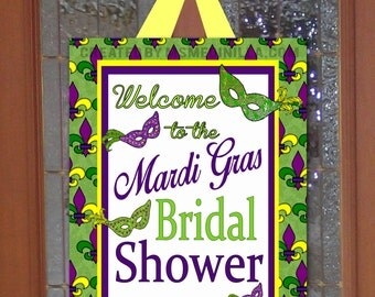 Mardi Gras Party Sign- Mardi Gras Bridal Shower Soiree DIY INSTANT DOWNLOAD