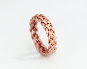 Rose Gold eternity band, Braided 14k Solid gold ring Solid Gold Braided Ring Braided wedding band Braided Band Gold Wedding Ring 14k Gold