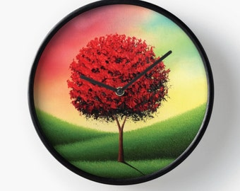 Colorful Wall Clock, Wooden Framed Red Tree Clock, Contemporary Landscape Clock, Home Decor, Bright Wall Decor, Modern Art Circular Clock
