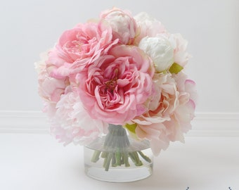 Peony Arrangement, Silk Peonies, Flower Arrangement, Silk Flower Arrangement, Peony Decor, Flowers, Silk Flowers, Pink Peony Arrangement