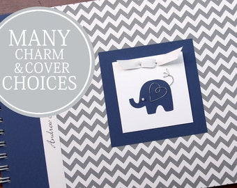 Baby Memory Book | Baby Book | Baby Album Photo Book & Journal | Personalized Baby's First Year Book |  Elephants | Gray Chevron + Navy Blue