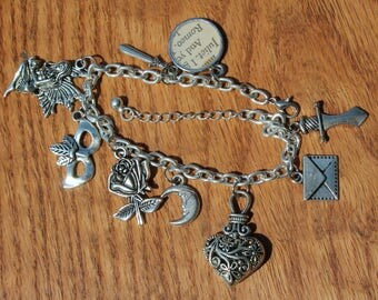Romeo and Juliet inspired charm bracelet, William Shakespeare inspired literary jewelry