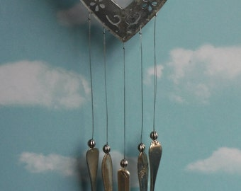Heart in Galvanized Metal Silver Plate Chimes Fully Weatherproof
