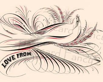 "BE My VALENTINE,  Calligraphy Bird Design, Instant DIGITAL Download, ""Love From"" Illustration,  Vintage Postcard"