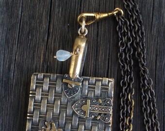 Antique  Carnet de Bal, Aide de Memoire Brass Necklace