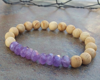 Sandalwood and Amethyst Stretch Bracelet, mala bracelet, yoga,amethyst bracelet, gemstone jewelry, New Spring 2017