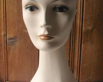 Long Neck Mannequin - Millinery Display Bust - Vintage Mannequin Head - Serious Female Mannequin Stand - Milliner Shop Photo Prop Head Form