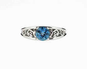 Filigree Celui engagement ring with London blue topaz in white gold, solitaire engagement ring, teal topaz ring, custom, unique, filigree