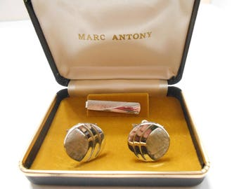Vintage Cuff Links & Tie Clip Set (2460)