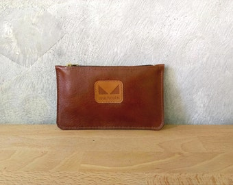 Brown leather pouch / Brown women wallet /Seal brown coin purse  / Leather change pouch / Wrislet pouch / Christmas gift