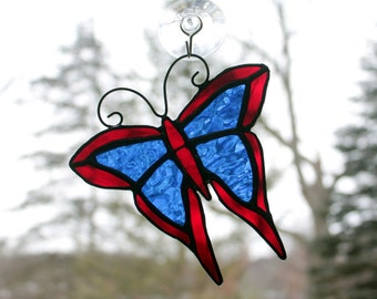 Stained Glass Butterfly Suncatcher Red and Blue, Glass Art