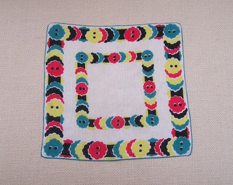 Vintage Buttons Hanky, Novelty Handkerchief, Button Collector Gift