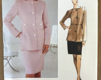 UNCUT Vintage 1990's Jacket and Skirt Sewing Pattern Vogue 2275 Vogue American Designer Geoffrey Beene  Suit, Plus Size, Blazer
