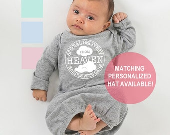 Special Delivery From Heaven • Handle with Care Postmark Newborn Baby Gown and Optional Hat - Infant Girl and Boy