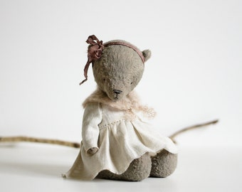 Made To Order Brown Teddy Bear Long White Dress Knitted Shawl Christmas Gift For Her Stuffed Animal Mohair Plush Toy 8 Inches