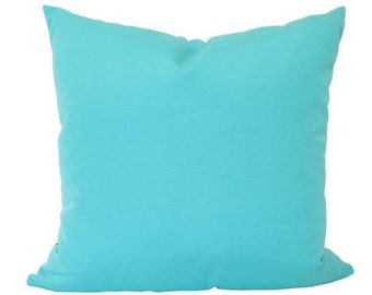 Aruba Teal Outdoor Pillow Cover in Sunbrella Fabric