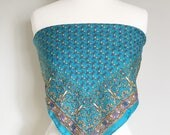Vintage TURQUOISE PRINT SCARF/Square Scarf/Scarf Top/One Size