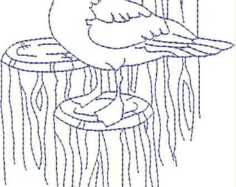 Embroidered Huck Towel - Toile Sea Gull