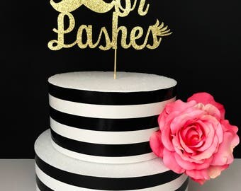 stashes or lashes cake topper- gender reveal cake topper- baby shower cake topper