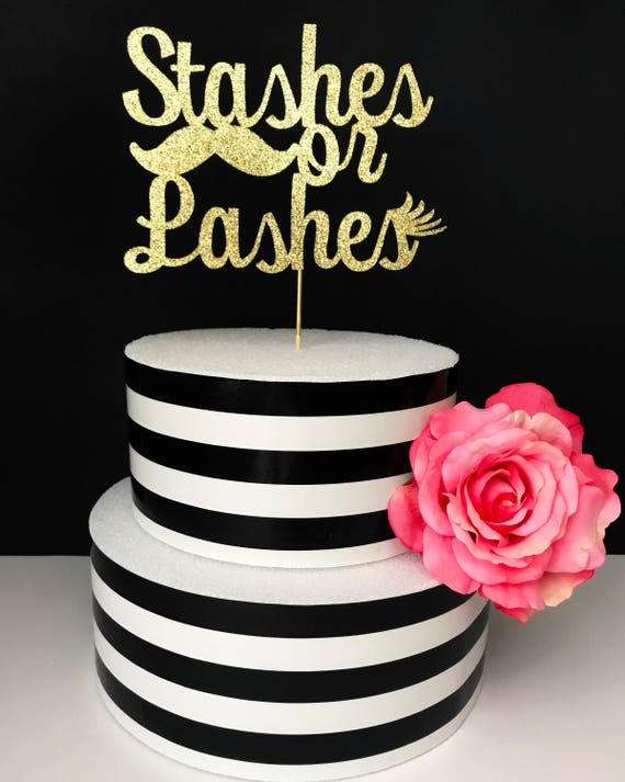 gender reveal cake toppers stashes or lashes cake topper gender reveal cake topper baby 4469