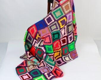 Granny Square Quilt, Hippie Blanket, Festival Blanket, Crochet Granny Square Quilt, Blanket, Crochet Blanket, Quilt Afghan, Handmade Rug