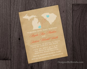 Vintage Style Wedding Invitation with Two States, Rustic Kraft Look with Matte Finish - Long Distance Relationship or Destination Wedding