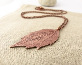 Autumn Leaves Copper Pendant - Leaf Necklace - Leaf Jewellery - Gift For Her - Rustic Necklace - Long Necklace with Pendant - Birthday Gift