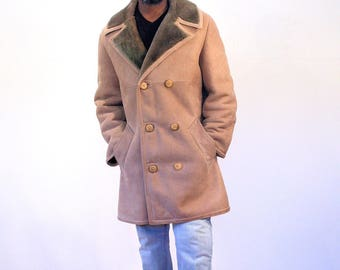 70s Suede Shearling Coat, Napa Suede Coat, Cowboy Coat, Ranch Coat, Sheepskin Coat, L