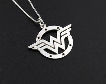 Wonder woman pendant etsy wonder woman necklace sterling silver wonder woman symbol super hero gift for women aloadofball Image collections