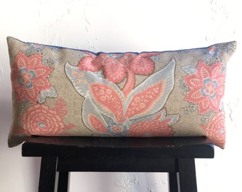 SET Floral Pillow Covers, Annie Selke Coral and Denim Pillow Covers, 12x24 Lumbar Decorative Pillow Covers, Spring Throw Pillows