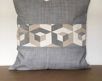 Modern Gray Pillow Cover, 20x20 Geometric Color Block Pillow, Escher Decorative Pillow, Gray Grid Pillow Cover, Designer Pillow