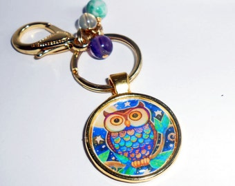 Owl Key Chain, Purse Charm, Zipper Pull, Backpack Charm, Womens Accessories, New Mom Charm, Tablet Case Charm, Owl Charms