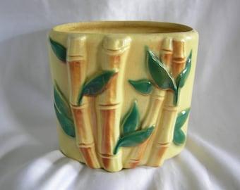 ROYAL COPLEY Bamboo Motif Ceramic Planter Vase | Unsigned | Vintage Circa 1950s
