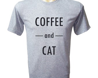 Coffee And Cat Shirt Coffee And Cat Tee Cat T-Shirt Funny T-Shirt Tumbler Shirt, Gifts For Men Hipster Clothing Shirt For Men