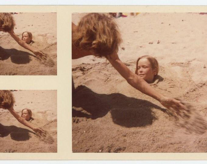 "Vintage Snapshot Photo: ""Norm Buries Ken in Sand, 1973"" (72550)"