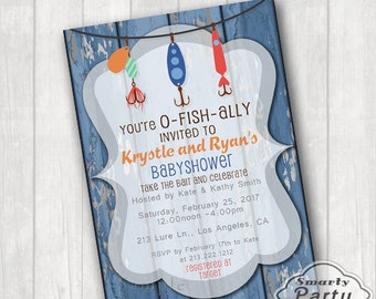 O FISH Ally Invited Fishing Baby Shower Invitations Invite Printable  Personalized Blue 5x7 Or