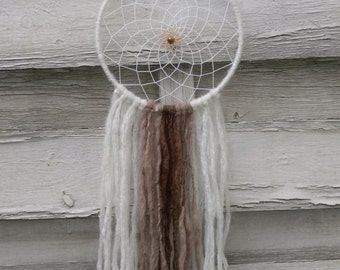 Boho Dreamcatcher white brown with yarn falls, wallhanging homedecor