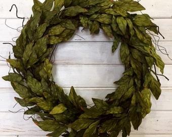 Everyday Farmhouse Grapevine Greenery Wreath--Farmhouse Wreath--Front Door Wreath--Spring Wreath--Summer Wreath--Fall Wreath