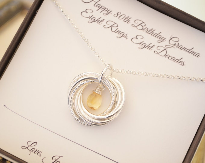 80th Birthday gift for grandmother necklace, 8th Anniversary gift for her, Citrine Jewellery, November birthstone necklace, Gift for mom